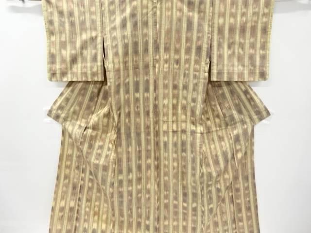 縞織り出し手織り節紬単衣着物【リサイクル】【中古】【着】 宗sou