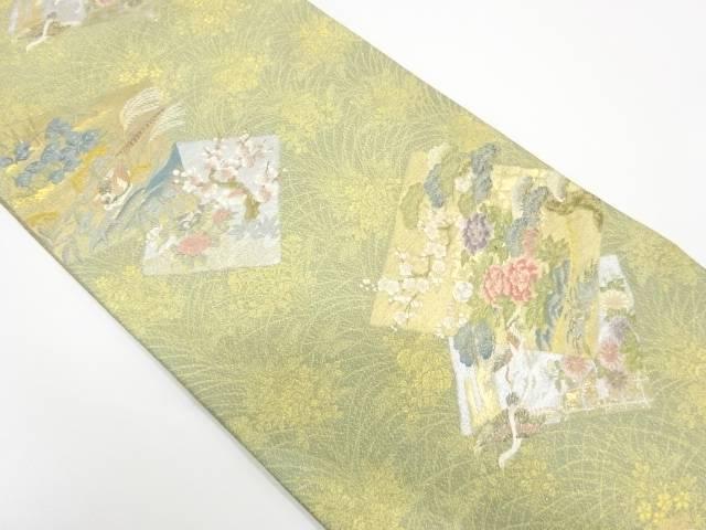 本金箔色紙に花鳥模様織出し袋帯【リサイクル】【中古】【着】 宗sou