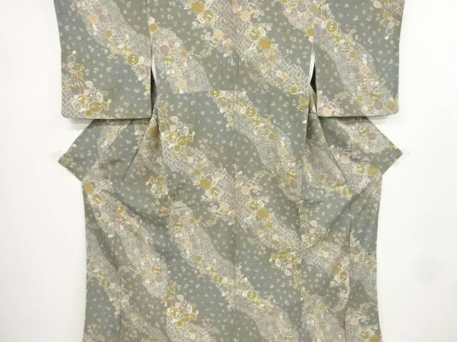 縮緬地麻の葉に花尽くし模様小紋着物【リサイクル】【中古】【着】 宗sou