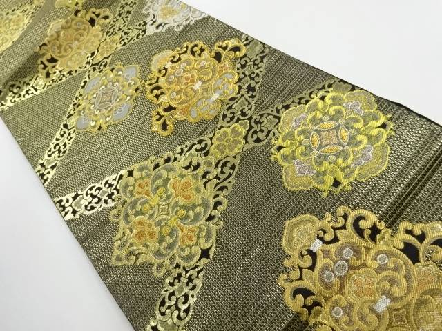 本金斜め格子に華紋織出し袋帯【リサイクル】【中古】【着】 宗sou