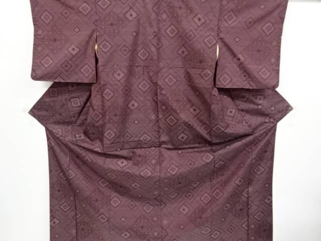菱模様織り出し本場大島紬着物アンサンブル【リサイクル】【中古】【着】 宗sou