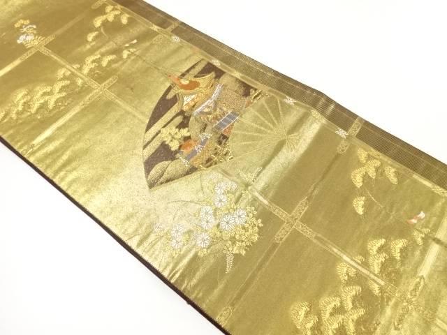 金糸扇に山鉾模様織出し袋帯【リサイクル】【中古】【着】 宗sou