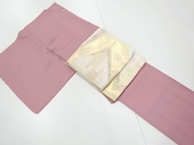 紗綾型模様織り出し一つ紋色無地着物・袋帯セット【リサイクル】【中古】【着】 宗sou