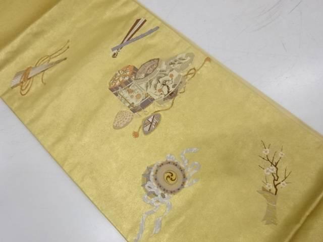 本漆金箔貝桶に古楽器・檜扇模様織出し袋帯【リサイクル】【中古】【着】 宗sou