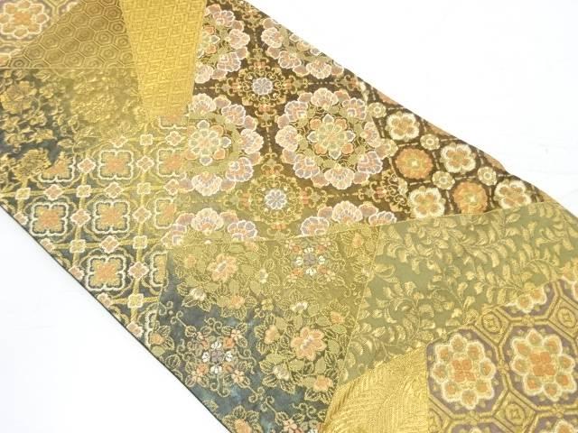 切り嵌め風に華紋・古典柄模様織出し袋帯【リサイクル】【中古】【着】 宗sou