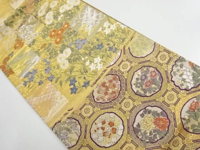 本金色紙に秋草・群鶴模様織り出し袋帯【リサイクル】【中古】【着】 宗sou