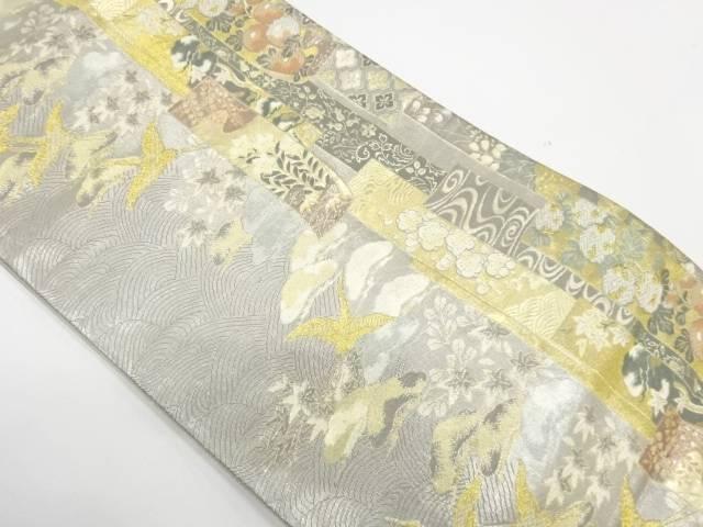 短冊に花鳥模様織出し袋帯【リサイクル】【中古】【着】 宗sou
