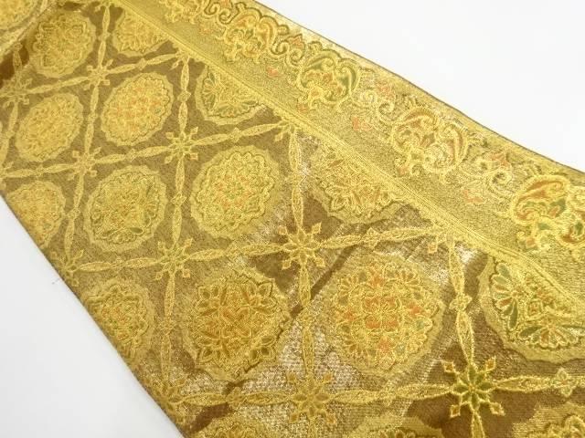 本金斜め格子に華紋織り出し袋帯【リサイクル】【中古】【着】 宗sou