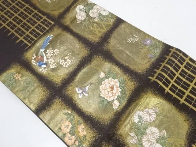 引箔丸紋に花鳥・藤模様織出し袋帯【リサイクル】【中古】【着】 宗sou