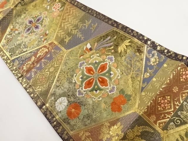 本金亀甲に華紋・鴛鴦模様織り出し袋帯【リサイクル】【中古】【着】 宗sou