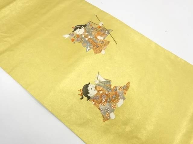 本金箔童子模様織出し袋帯【リサイクル】【中古】【着】 宗sou