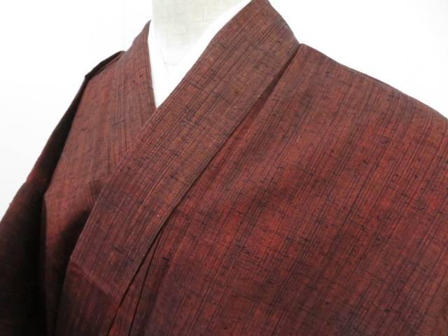 紬 縞に暈し文 着物【リサイクル】【中古】【着】 宗sou