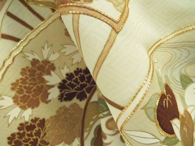 色留袖 訪問着仕立て 菱地紋に扇花文 着物 リサイクル着宗souOuliTXwPkZ