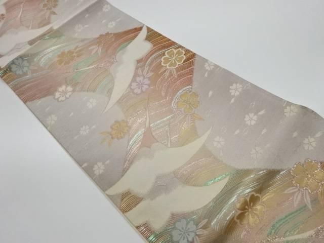鶴に桜模様織出し袋帯【リサイクル】【中古】【着】 宗sou