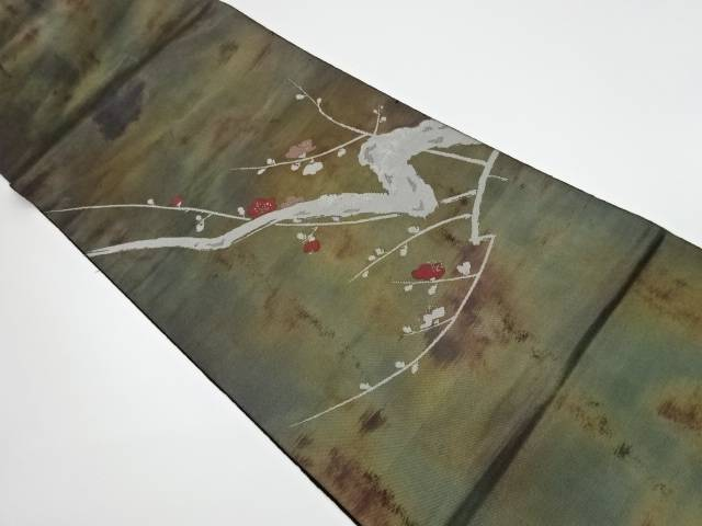 服部織物製 こはく錦梅模様織出し袋帯(未仕立て)【リサイクル】【中古】【着】 宗sou