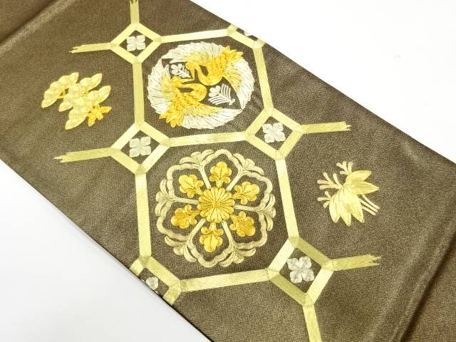 未使用品 蜀江文に花鳥模様刺繍袋帯【リサイクル】【着】 宗sou