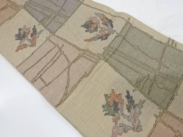 花格子模様織出し袋帯【リサイクル】【中古】【着】 宗sou