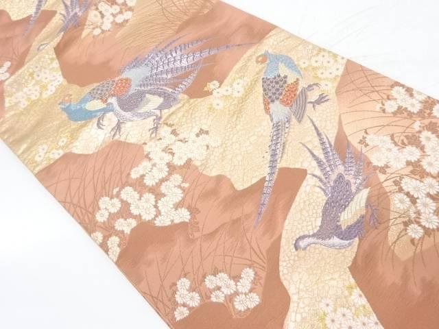 雉子野遊賦模様織出し袋帯【リサイクル】【中古】【着】 宗sou