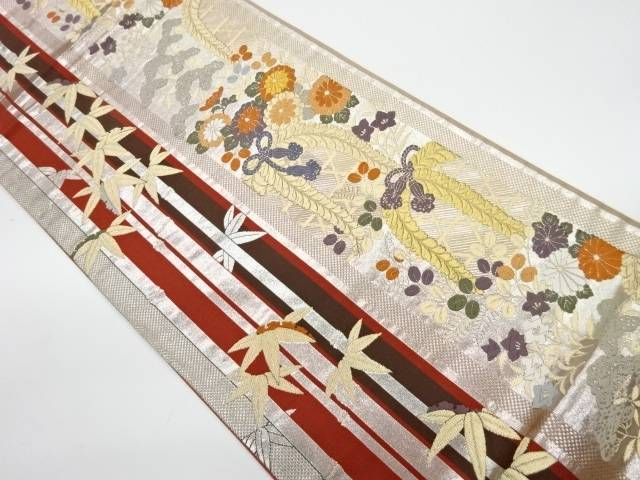 竹に縞・花模様織出し袋帯【リサイクル】【中古】【着】 宗sou