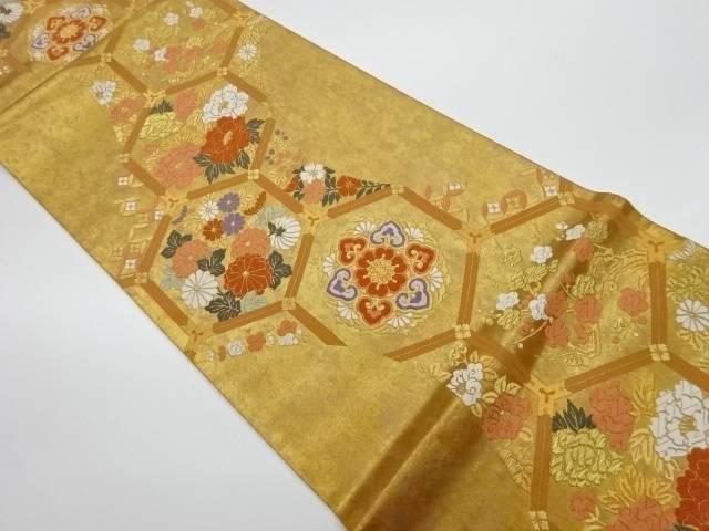 未使用品 亀甲に花模様織出し袋帯【リサイクル】【着】 宗sou