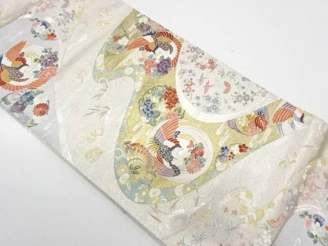 流水に花鳥模様織出し袋帯【リサイクル】【中古】【着】 宗sou