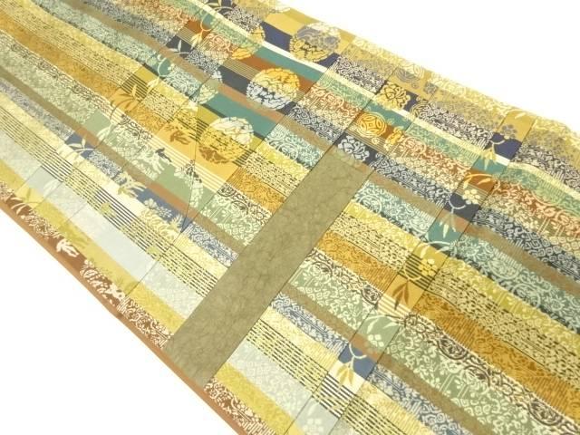 切り嵌め縞に向かい動物・笹蔓模様織出し袋帯【リサイクル】【中古】【着】 宗sou