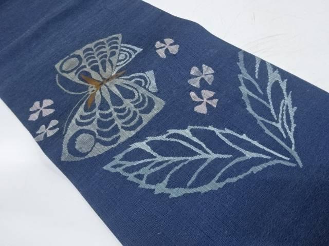 すくい織蝶に草花模様織出し袋帯【リサイクル】【中古】【着】 宗sou
