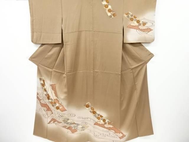 短冊に菖蒲・菊模様刺繍一つ紋訪問着【リサイクル】【中古】【着】 宗sou