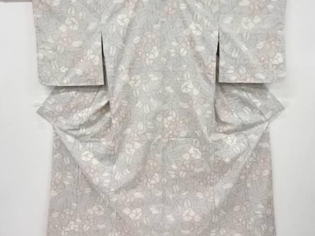 椿模様織り出し手織り真綿紬着物【リサイクル】【中古】【着】 宗sou