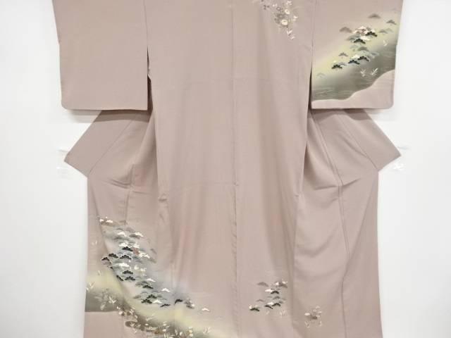 松原に枝梅鴛鴦模様刺繍一つ紋訪問着【リサイクル】【中古】【着】 宗sou