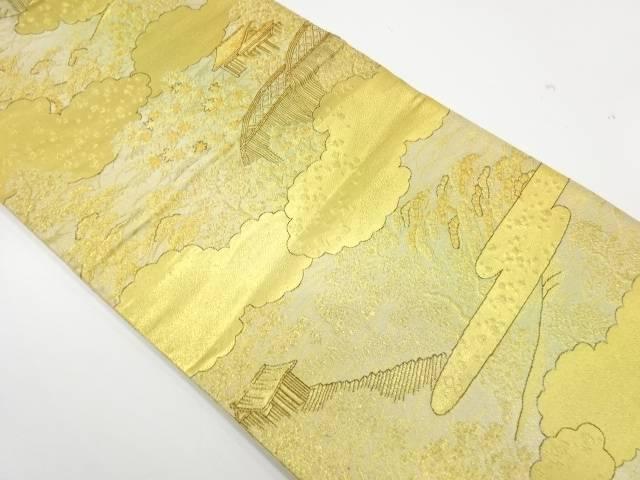 ヱ霞に風景模様織出し袋帯【リサイクル】【中古】【着】 宗sou