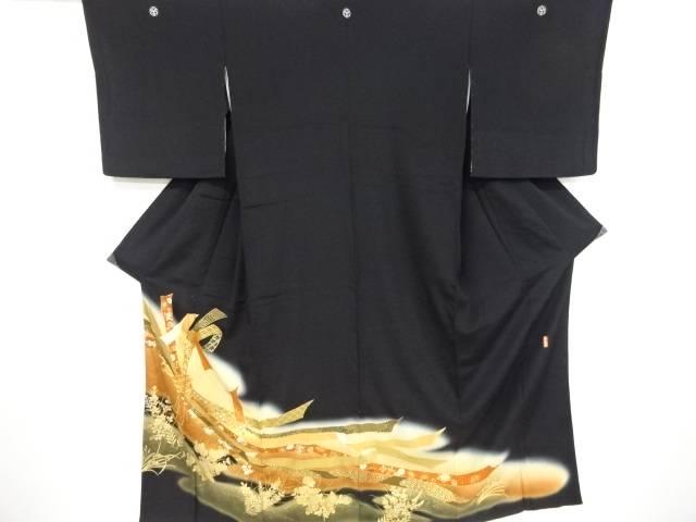作家物 束ね熨斗に花古典柄模様刺繍留袖(比翼付き)【リサイクル】【中古】【着】 宗sou