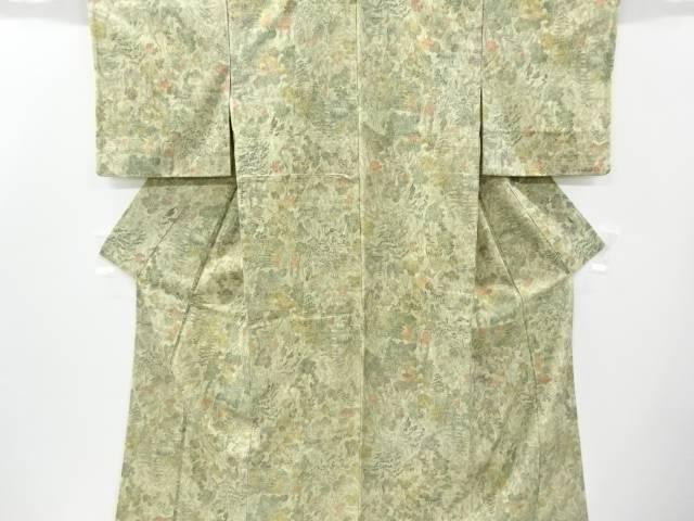 山寺風景模様手織り節紬着物【リサイクル】【中古】【着】 宗sou