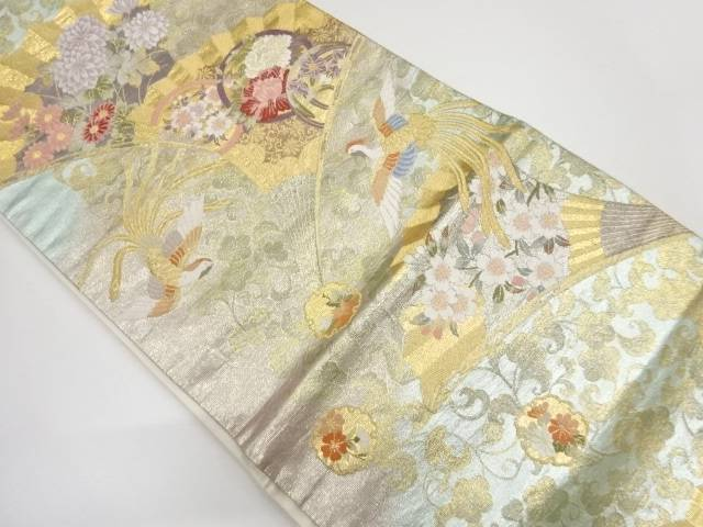 扇に花鳥模様織出し袋帯【リサイクル】【中古】【着】 宗sou