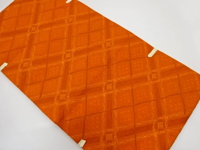 未使用品 川島織物製 斜め格子模様織出し袋帯【リサイクル】【着】 宗sou