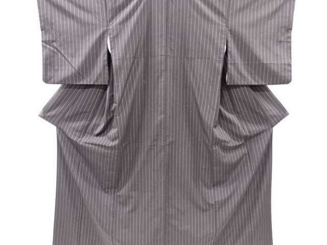 縞模様織り出し手織り紬着物【リサイクル】【中古】【着】 宗sou