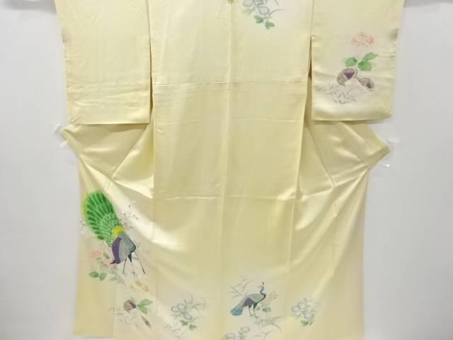 孔雀に草花模様刺繍一つ紋訪問着【リサイクル】【中古】【着】 宗sou