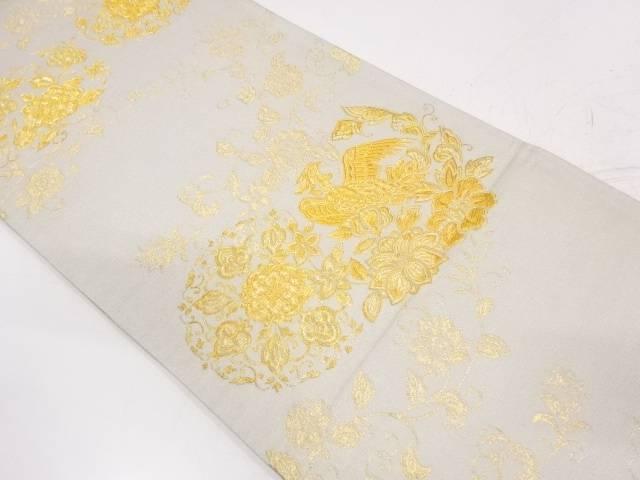 岡本英男製 華紋に花鳥模様織出し袋帯【リサイクル】【中古】【着】 宗sou