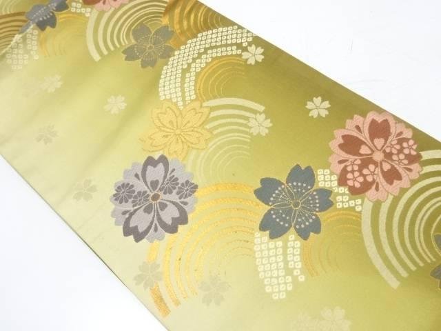 青海波に桜模様織出し袋帯【リサイクル】【中古】【着】 宗sou