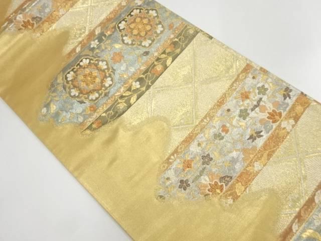 横段に花唐草・華紋模様織出し袋帯【リサイクル】【中古】【着】 宗sou