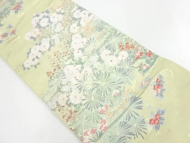 草花に紗綾型模様織出し袋帯【リサイクル】【中古】【着】 宗sou