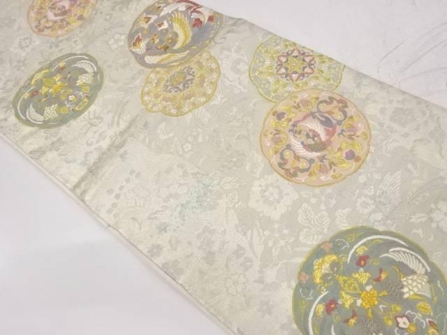 引箔絵皿に花鳥模様織出し袋帯【リサイクル】【中古】【着】 宗sou