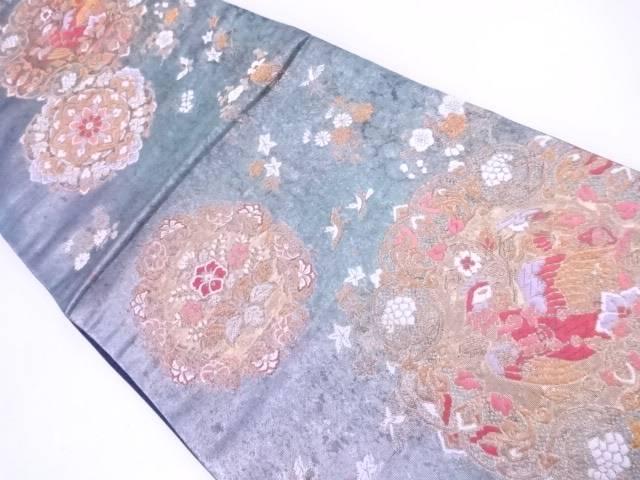 袋帯 刺繍 花鳥と蝶文【リサイクル】【中古】【着】 宗sou