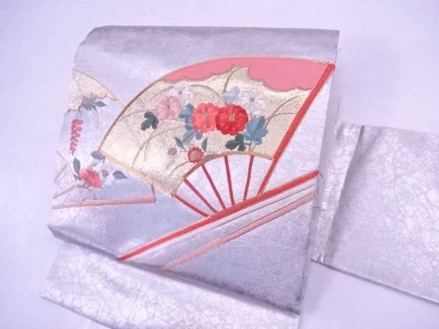 九寸名古屋帯 金駒刺繍 刺繍 扇に菊・椿文【リサイクル】【中古】【着】 宗sou