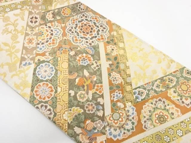 鴛鴦に華紋模様織出し袋帯 リサイクル着宗sounkPX8O0wN