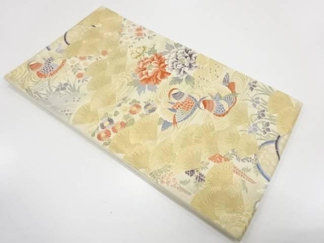 宗sou 未使用品 鴛鴦に草花模様織出し袋帯【リサイクル】【着】