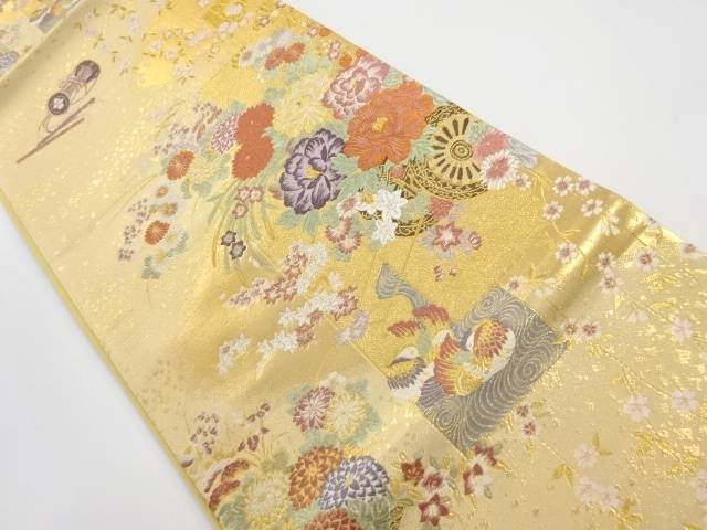 本金花車に鴛鴦・和楽器模様織出し袋帯【リサイクル】【中古】【着】 宗sou