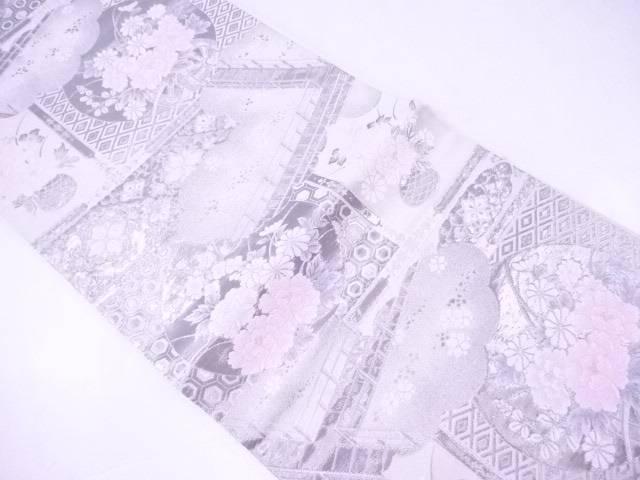 袋帯 プラチナ箔 雲に橋・牡丹文【リサイクル】【中古】【着】 宗sou