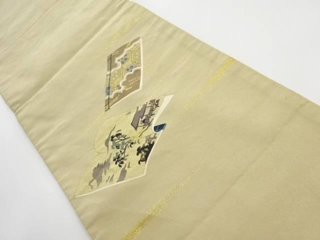 本綴れ読本に風景模様織出し袋帯 (着用可)【アンティーク】【中古】【着】 宗sou