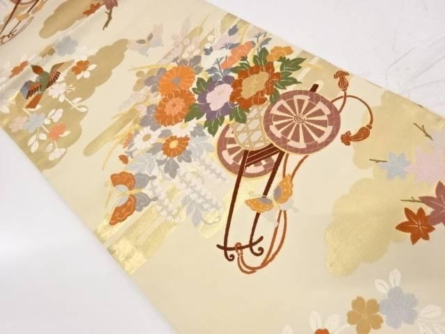 唐織花車に蝶模様織出し袋帯【リサイクル】【中古】【着】 宗sou